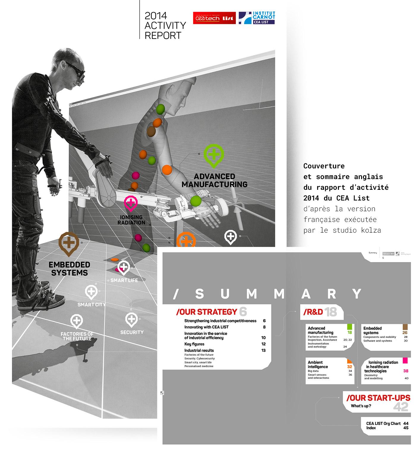 Couverture et double-page intérieure du rapport d'activité CEA List 2014