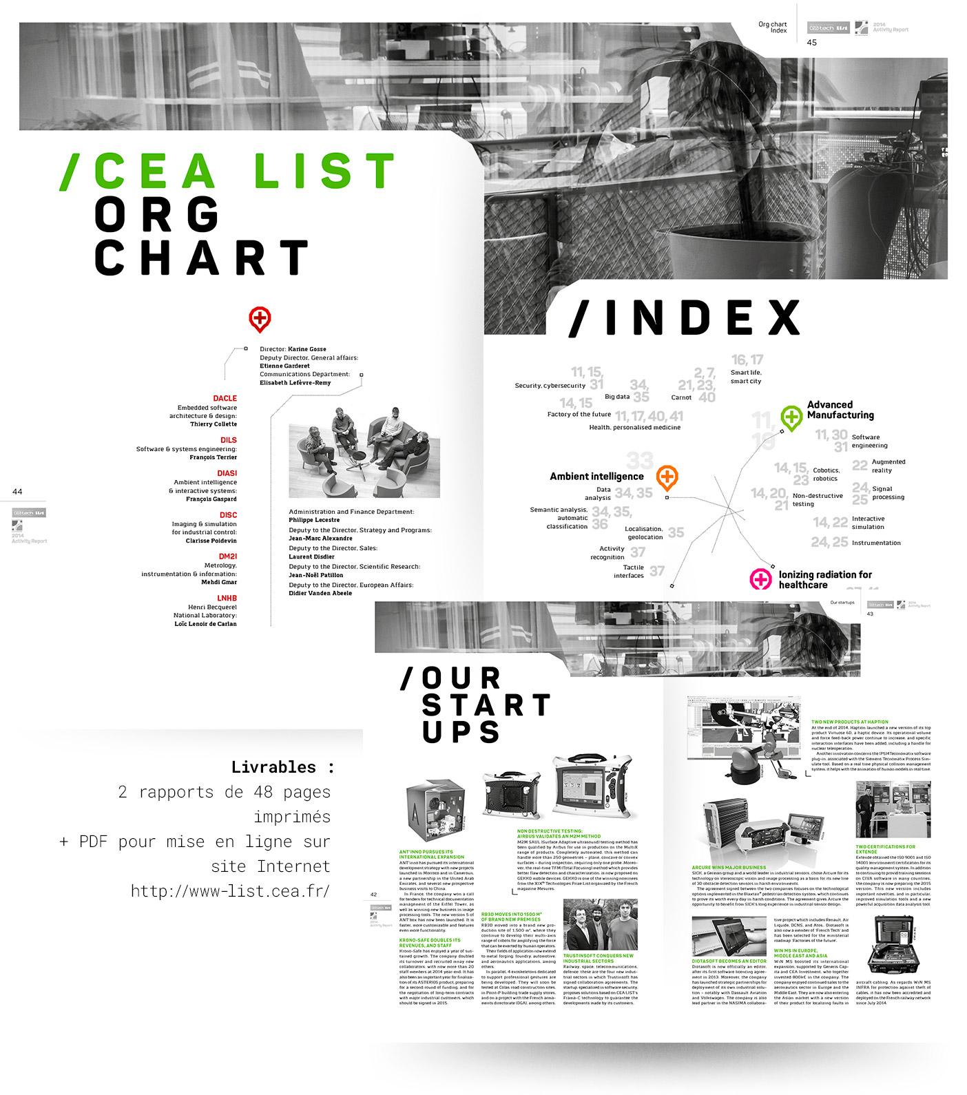 Pages intérieures du rapport d'activité CEA List 2014 (version anglaise).